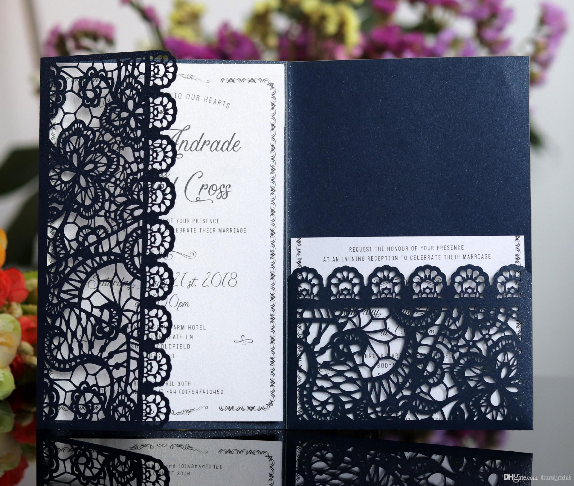 Horizontal Laser Cut Wedding Invitations Cards With Rsvp Cards White