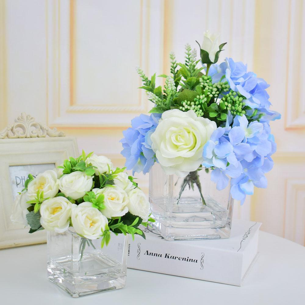 Compre rosas de seda hortensias flores artificiales - Decoracion de jarrones con flores artificiales ...