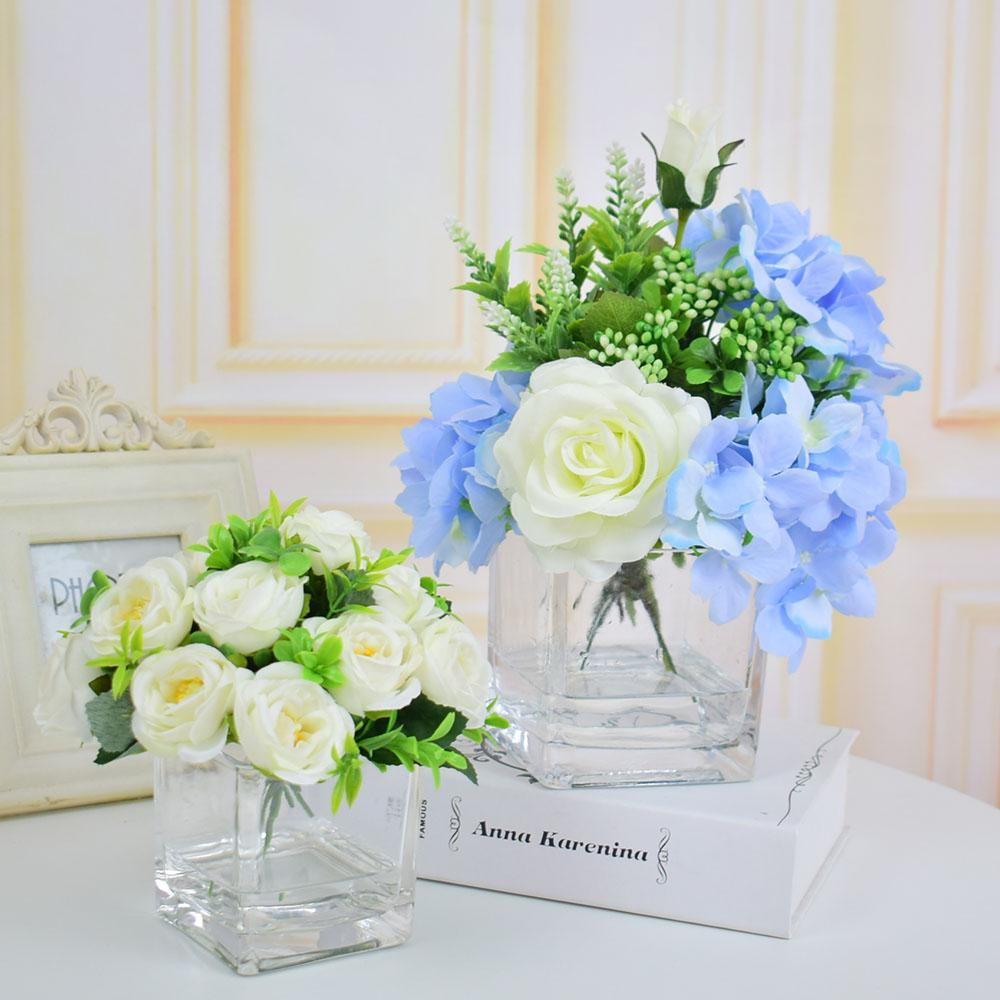 Silk roses hydrangea artificial flowers vases with flowers silk roses hydrangea artificial flowers vases with flowers centerpieces glass vase for wedding decorations home table blue white decorative glass vases and mightylinksfo