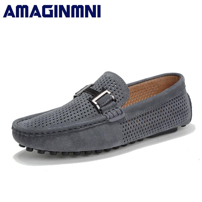cb4794fb78d AMAGINMNI 2018 Men Casual Shoes Cow Suede Leather Loafers Leather Driving  Slip on Shoes Men Comfortable And Breathable Men Moccasin Loafers Leather  Online ...
