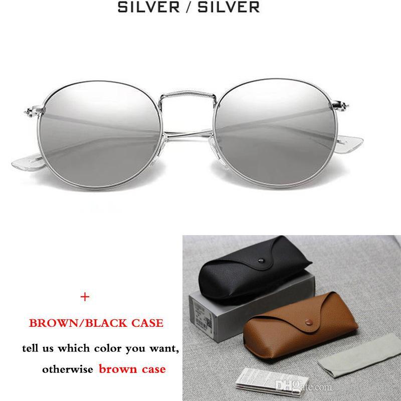 New Classic 3447 Round Metal Style Sunglasses Hombres Mujeres Vintage Retro Diseño de Marca Gafas de Sol Gafas de Sol con estuche marrón