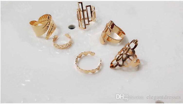 Billig Verkauf Cool Gold Metall Stapel Schädel Bogen Brautschmuck Nagel Band Mid Finger Top Ring Set Hohe Qualität Ringe
