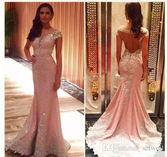 2018 Cristal Rosa Frisado Vestidos de Noite Sheer Neck Lace Applique Sereia Prom Party Vestidos Sexy Ocasião Especial Vestido
