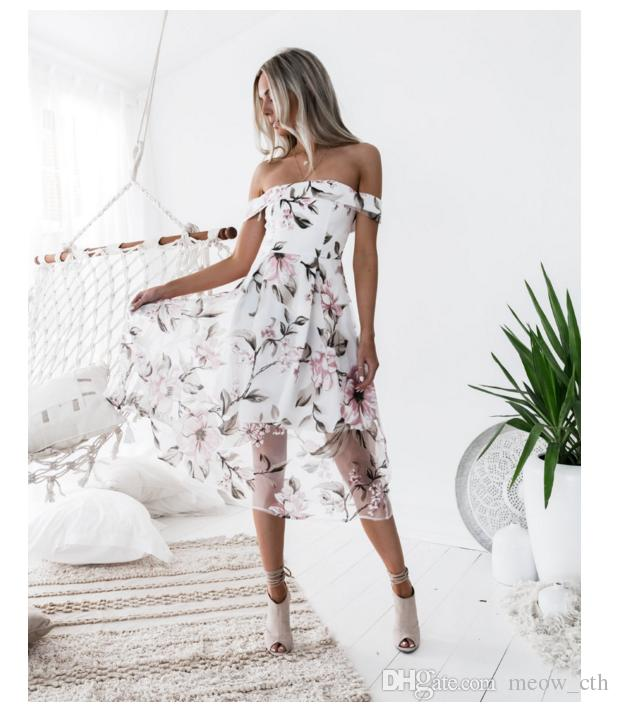 2018 new women Sexy Fashion print summer Dress Womens wearing printed organza elegant long dress ladies