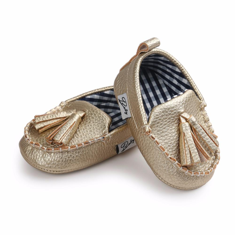 1b0aef42114 ROMIRUS PU Leather Tassel Moccasin Slippers Soft Sole Sneakers Baby Shoes  For Newborn Infants Girl Boy First Walker - Gold
