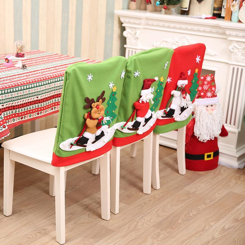 1Pc 60x50cm Skidding Santa Claus Snowman Chair Dinner Cover Set Christmas Decoration For Home New Year Xmas Party Supplies 294