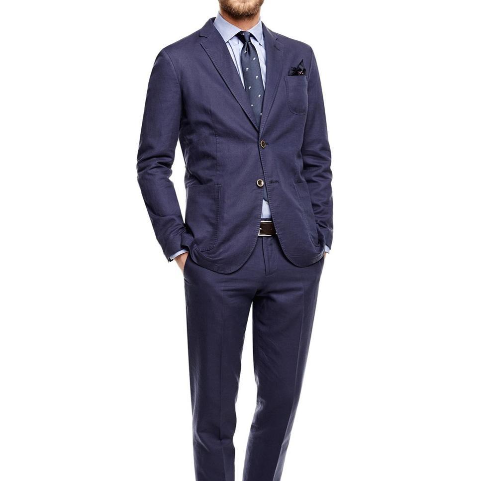 8c8496aae636 Traje clásico de los hombres Por encargo 2018 Azul marino Traje de los  hombres Formal de negocios Novios Tuxedos Blazer para hombre con pantalones  2 ...