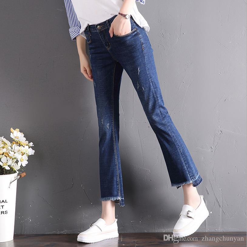 de09b0d7638 2019 Ankle Length Jeans Popular A Style Jeans For Girls Denim Jeans Elastic  Waist Trousers Female Bottom Pants Skinny Slim 2018 Sping And Summer From  ...