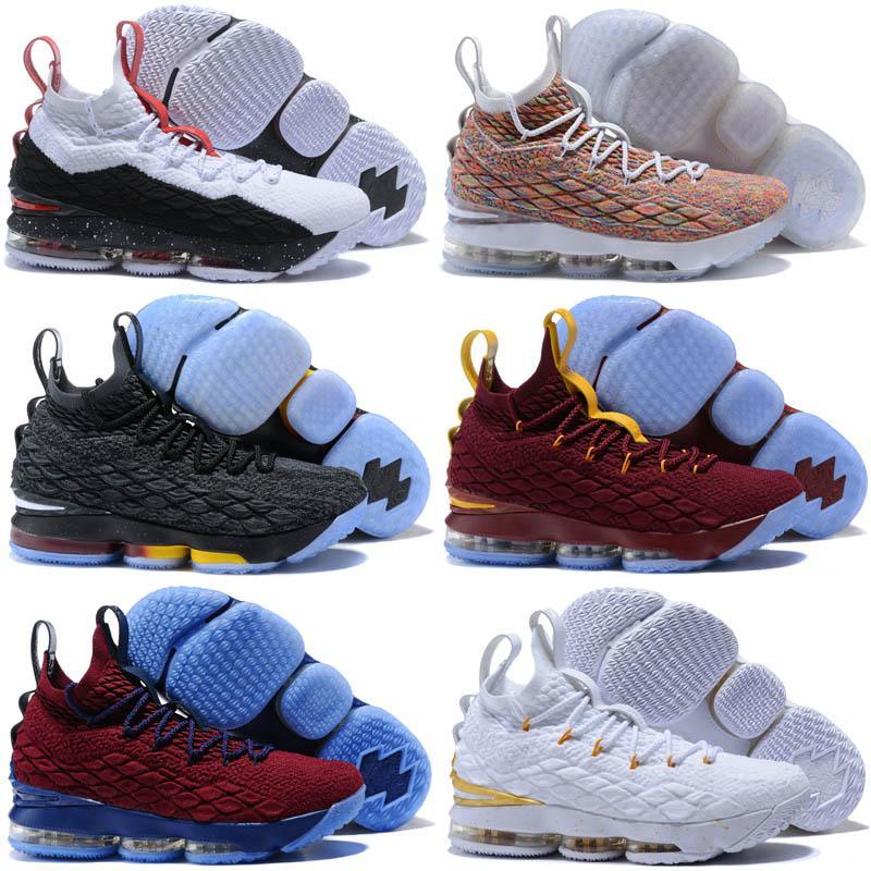 separation shoes c2866 851ea James45 Mens Lebron 15 Basketball Shoes Multi Color Fruity Pebbles Gold  Black Purple Leopard Red Boys Girls Kids Sneakers Shoes Us 7-12