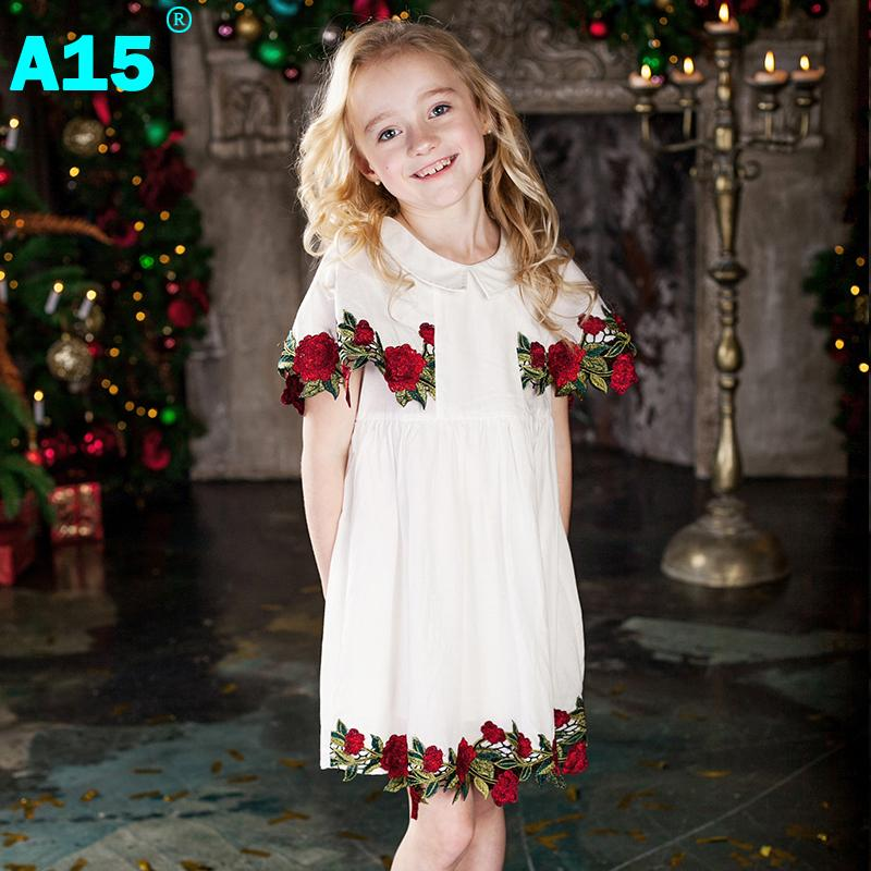A15 Girls Dress Summer 2017 Brand White Lace Dress Flower Kids Dress for Girls Children Teenage Clothes Age 2 3 4 5 6 14 16 Year