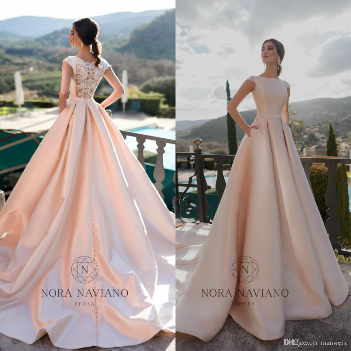 01f897f1bb640 Discount Nora Naviano 2019 A Line Satin Wedding Dresses Lace Applique Cap  Sleeve Sweep Train Blush Pink Bridal Gowns Plus Size Robe De Mariée  Designer ...