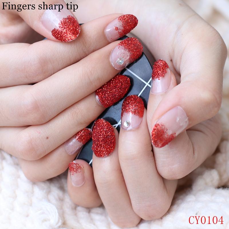 Beautiful And Charming Big Red Glitter And Diamonds Fake Nails Round