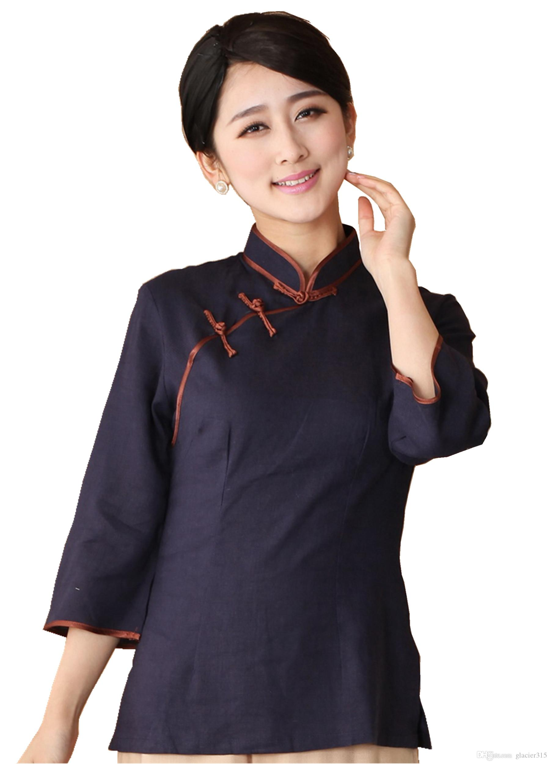 4f9962045f0 2019 Shanghai Story 2018 New Arrival Mandarin Collar Traditional Chinese  Tops Linen Top Chinese Linen Chinese Blouses From Glacier315