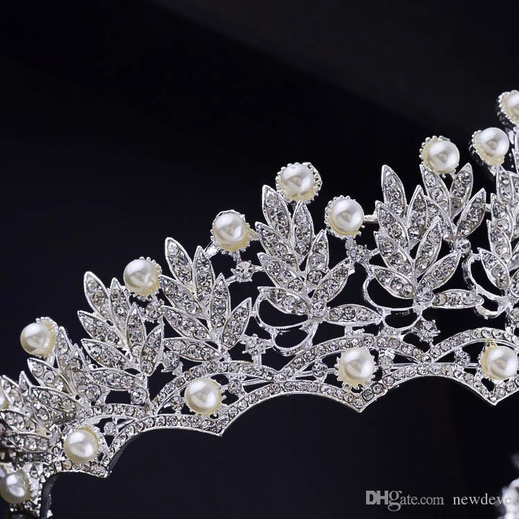 2020 Düğün Taç Moda Gelin Başlığı Saç Aksesuarları Inci Gelin Taçlar Tiaras Başkanı Takı Rhinestone Gelin Tiara Kafa