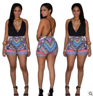 12d31e55542 2019 Fashion Women Sexy Jumpsuits Shorts Print Sling Deep V Pants Nightclub Jumpsuit  Bare Back Rompers One Piece Overalls From Sexystores520