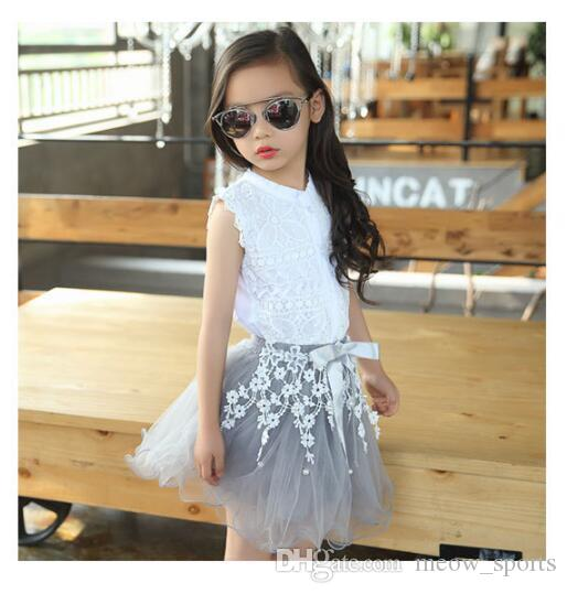Hot Sale! Girls Clothing Sets Summer Lace Fashion Style Baby Clothes For Girls T-Shirt + Skirts Kids Flower Cupcake Cute Skirt