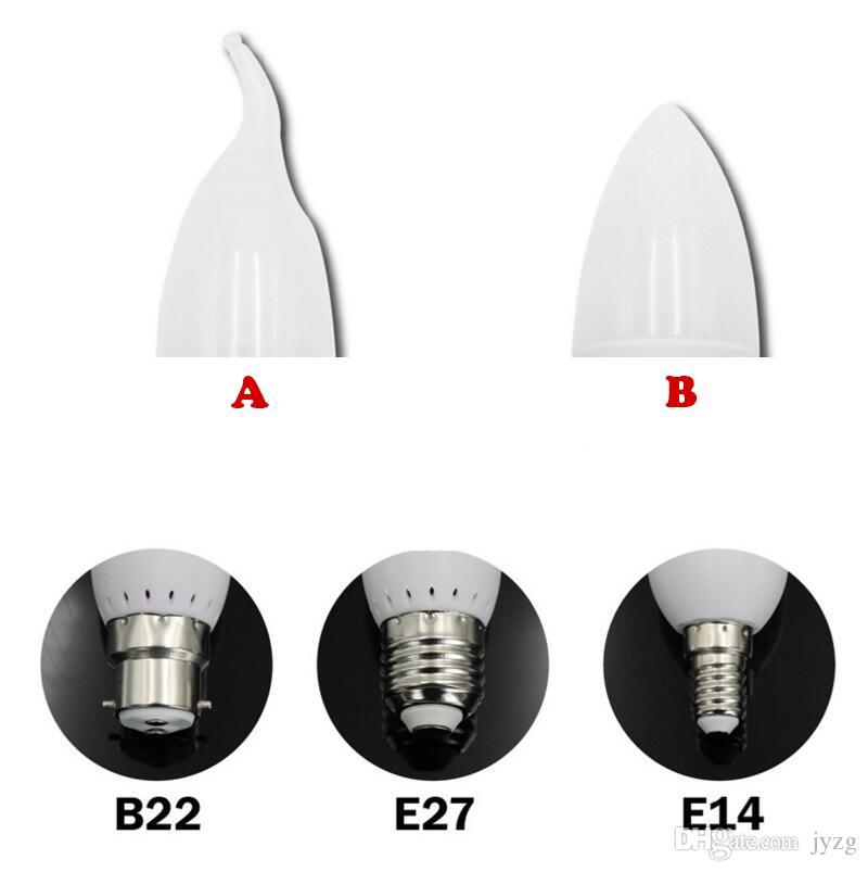 lámpara de la bombilla de la vela led E14 E27 B22 2835 SMD cálido / fresco blanco llevó la lámpara del proyector llevó la cáscara plástica para la decoración casera