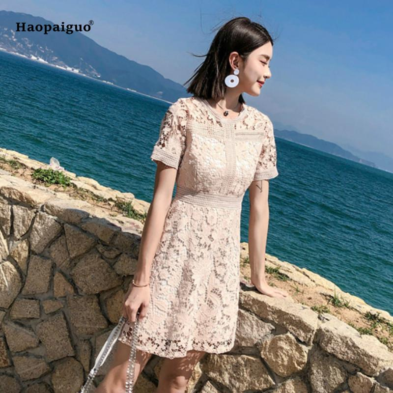 a26035746d5 Plus Size A Line Dress Summer Women White Pink Short Sleeve O Neck Elegant  Beach Lace Dress Korean Casual Office Ladies Dresses Cheap Cocktail Dress  ...