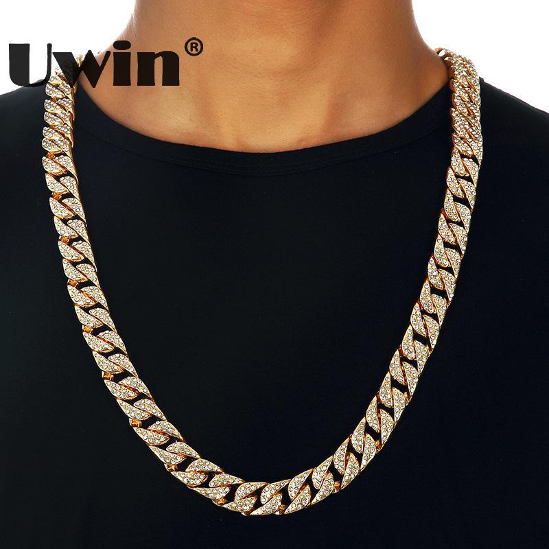 2019 Uwin Hip Hop Bling Thick Miami Cuban Link Chian Necklace Full Iced Out  Rhinestones Long Gold Silver Color Necklace Men Jewelry From Atunice 5599b6f3e01b