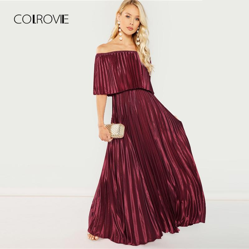 874c860c9714 COLROVIE Burgundy Flounce Foldover Front Off Shoulder Pleated Christmas  Dress 2018 Autumn Elegant Dress Evening Maxi Dresses Dress Of Women White  Lace ...