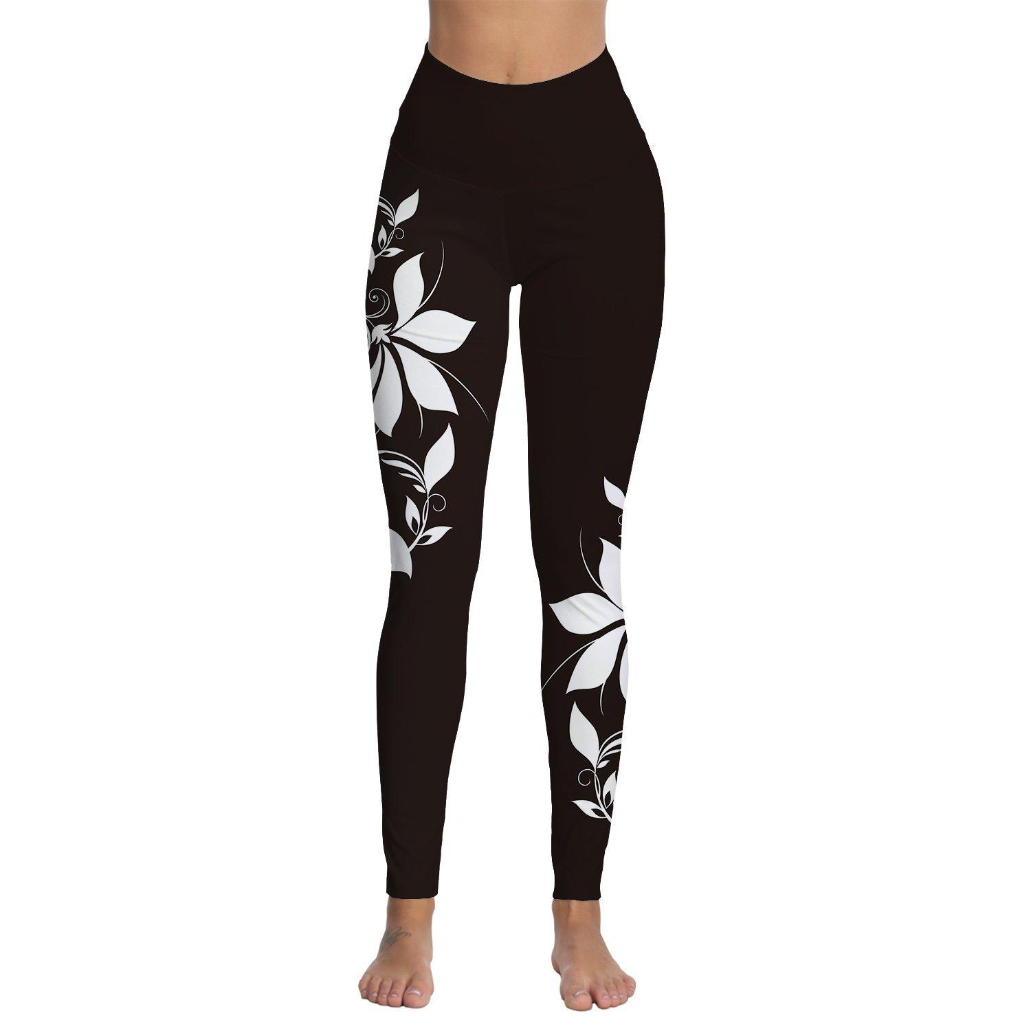 cd52f592b6cc32 2019 Womens White Floral Printed High Waist Workout Leggings Skinny Tummy  Control Yoga Pants From Annuum, $31.69 | DHgate.Com