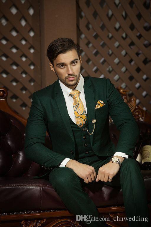 Koyu Yeşil Erkekler Düğün Damat Smokin Slim Fit Damat Balo Takım Elbise Suits Ceket + Pantolon + Yelek Blazer Erkek Düğün Kostüm Homme Suits