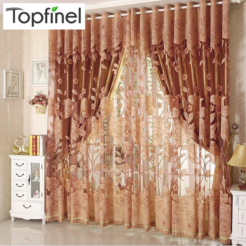 Acheter Top Finel Moderne De Luxe Brodé Sheer Rideaux Pour Salon