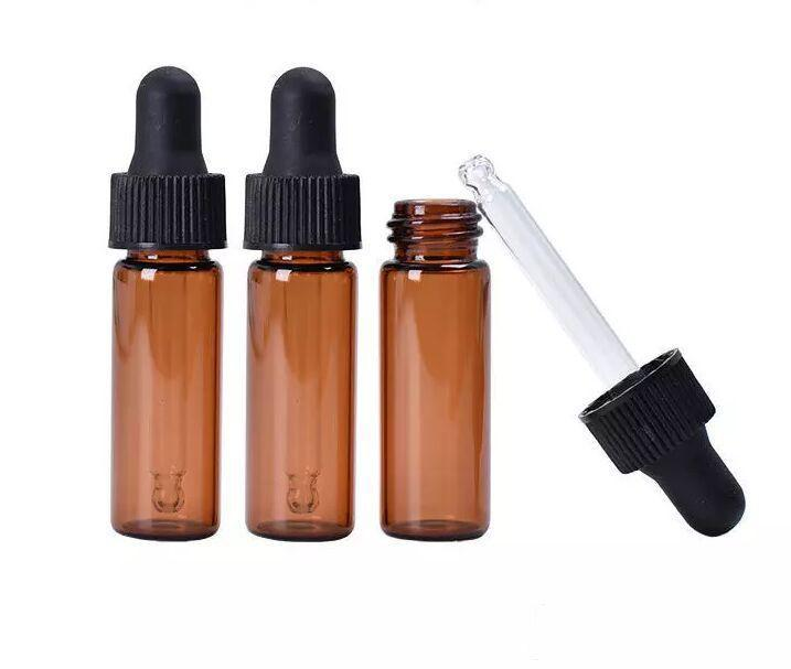 New Arriveal 4ml Red-Amber Glass Dropper Bottle Top Quality Essential Oil Bottle Display Vials Small Serum Perfume Sample Test Bottle