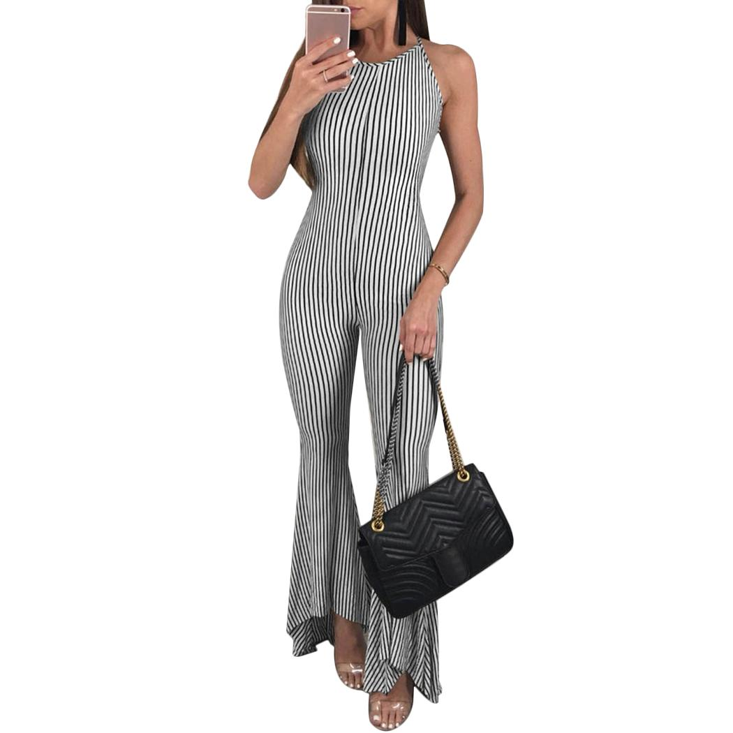 ab0bef2331a 2019 Sexy Backless Lace Up Striped Womens Jumpsuit 2018 Summer Rompers  Sleeveless Flare Pants Playsuit Ladies Overalls Body Mujer From Bunnier