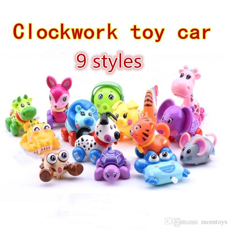 Clockwork toy car Children's spring toy car cartoon animal chain twist car baby educational toy gift 9 kinds of style