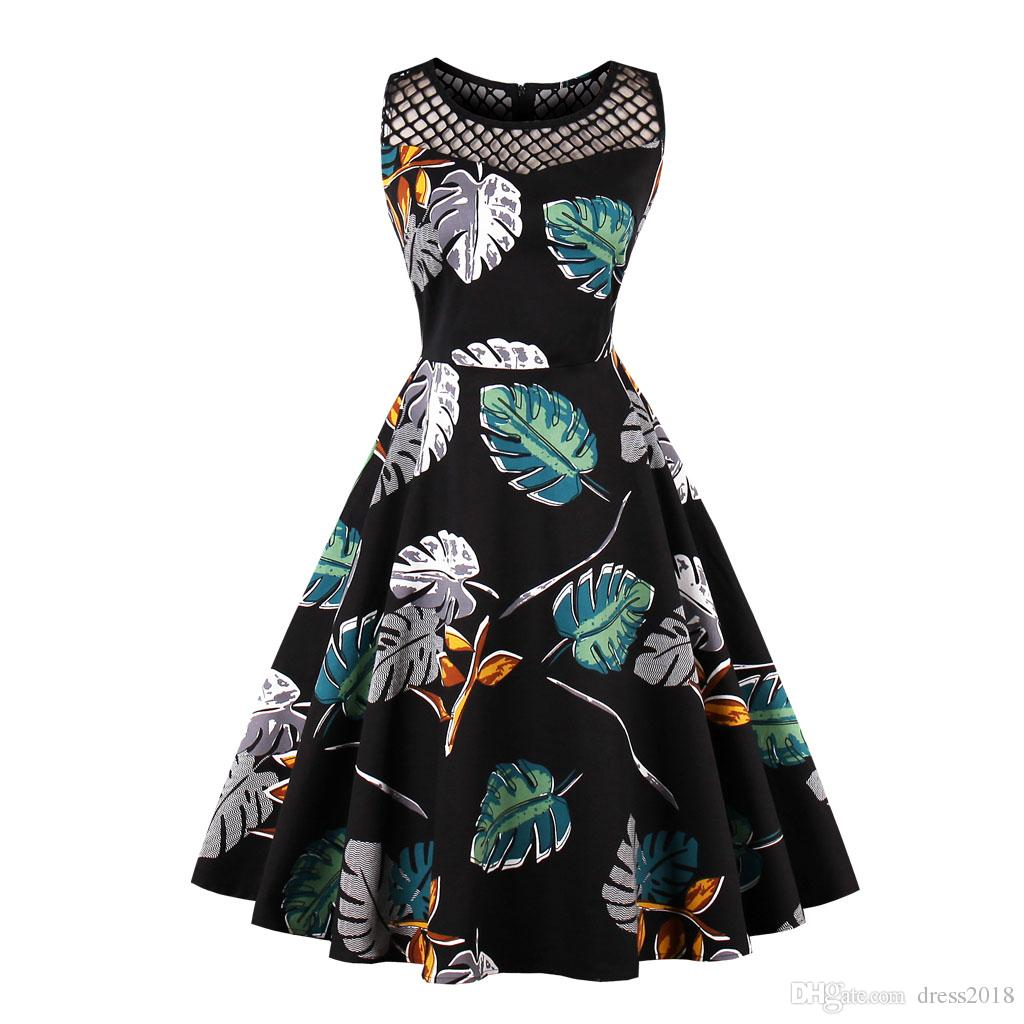 ed32d5a56cd40 Audrey Hepbum Vintage Dress Cocktail Casual Club Party Floral Hot A Line  Boat Neck Club Midi Sleeveless Navy Blue Knee Length Wed S 4xl Cute Black  Party ...