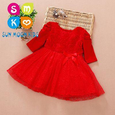 45e376a1b ¡Gran venta! Vestido infantil rojo 2018 Nuevo vestido de niña bebé para  fiesta infantil Boda para cumpleaños de niña de 1 año