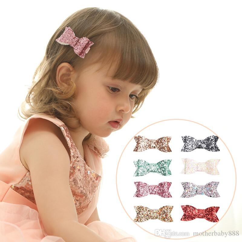 Little girl's sequined bow hair clip 8 color lovely princess sequin crocodile clip wholesale children's party hair clip free shipping 80306