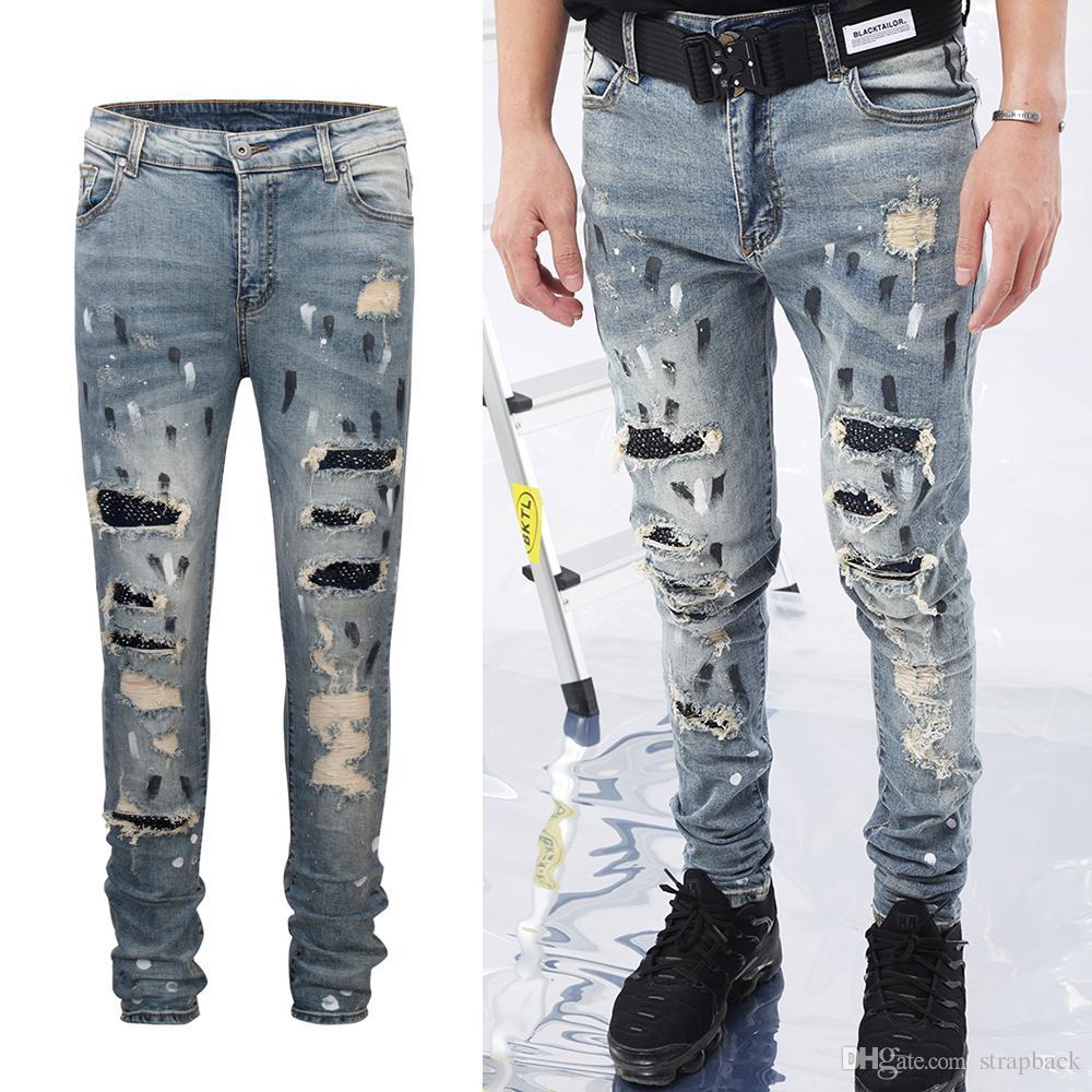 0303a1784 Compre Strapback Para Hombre Pantalones Vaqueros Rotos Skinny Straight Slim  Fit Elástico Denim High Street Dañado Lápiz Jeans Estilo JOG Estilo Justin  ...