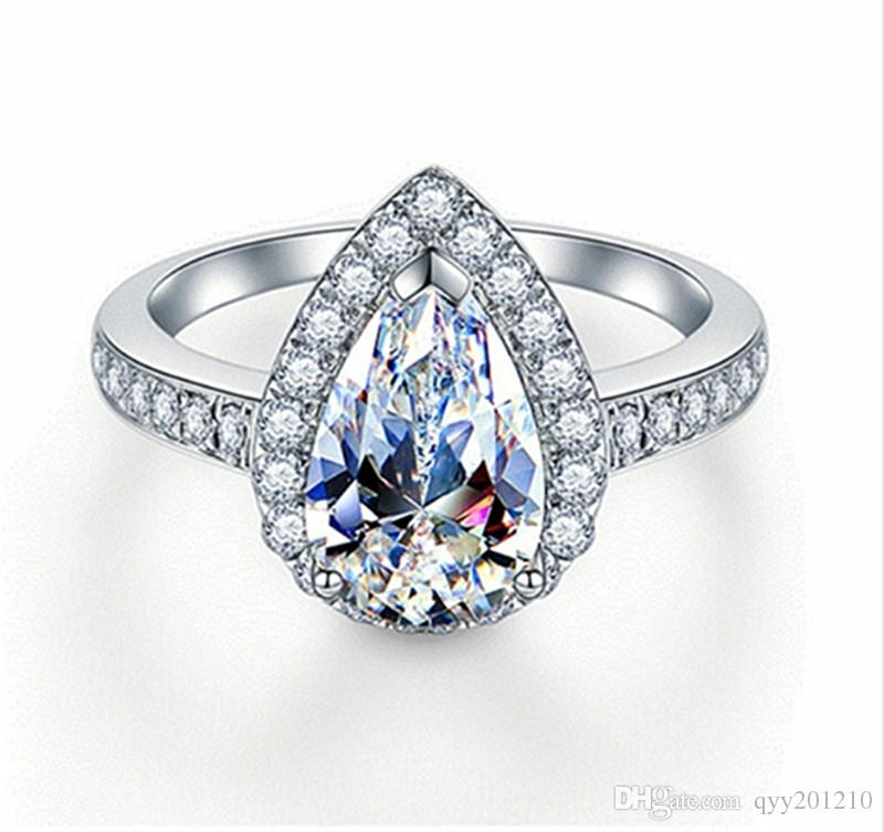 2018 Sterling Silver Drop Diamonds Ring Pear Jewelry 2ct Synthetic