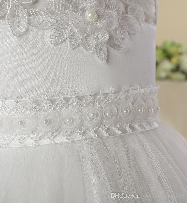 flower girl dresses elegant Tulle girl kids birthday Lace ball gown flower girl dresses white First Communion Dresses Girls Ball Gowns