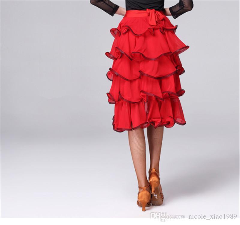 Kırmızı Yetişkin / Kızlar Latin Dans Elbise Salsa Tango Chacha Balo Salonu Rekabet Dans Elbise Bandaj katmanlı kek etek bullfight pelerin etek
