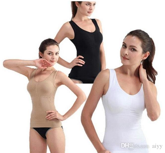 c977f7b0da4f3 2019 Plus Size Genie Bra Cami Tank Top Women Body Shaper Removable Shaper  Underwear Slimming Vest Corset Shapewear From Aiyy