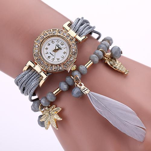 Top strass Femmes Mode \ 's marqueté Braid Bracelet Montre-bracelet à quartz plume
