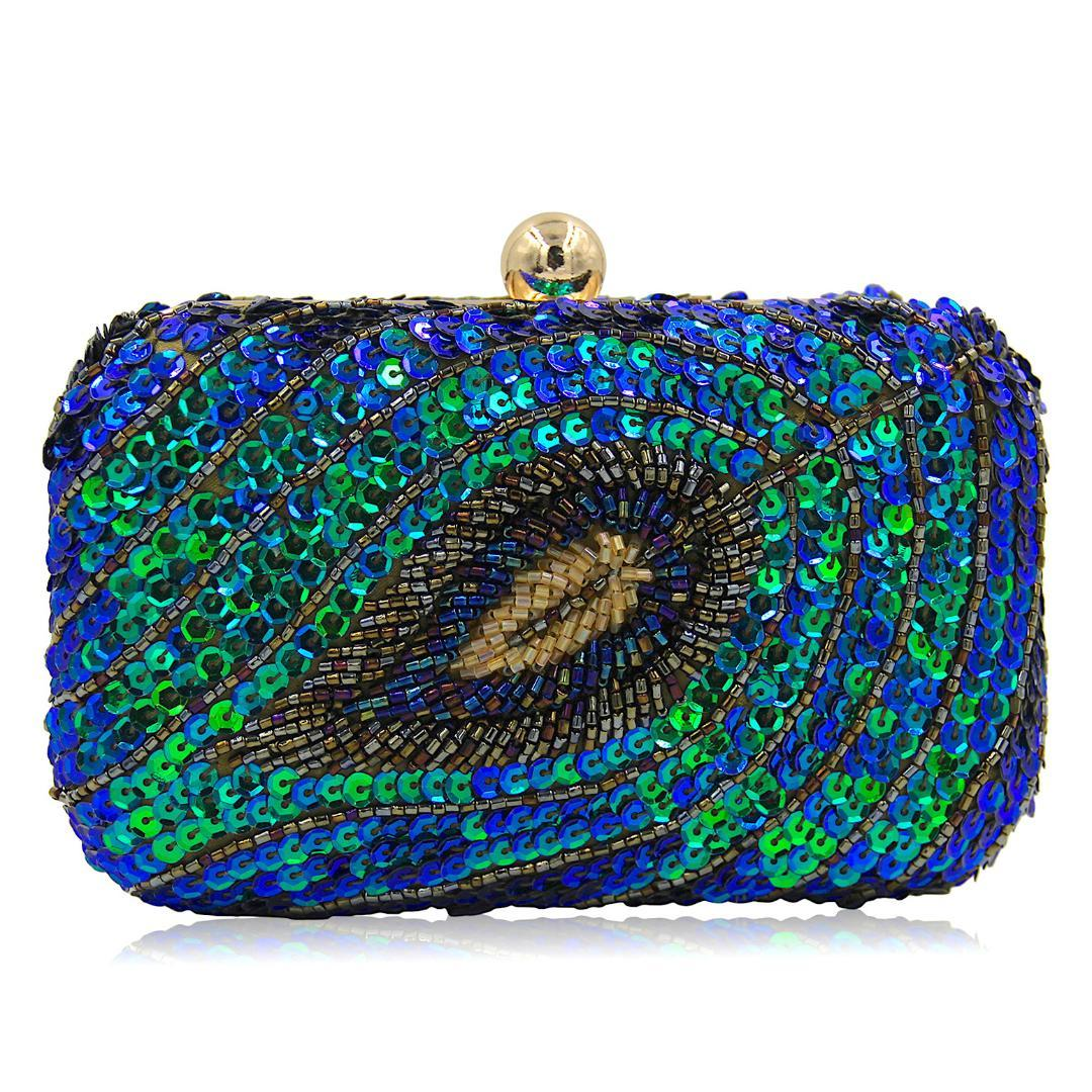Hot Selling Sequins Pearl Embroidery Evening ClutchBbag Blingbling High-end Retro Ladies Clutches Hand Bag Box baobao