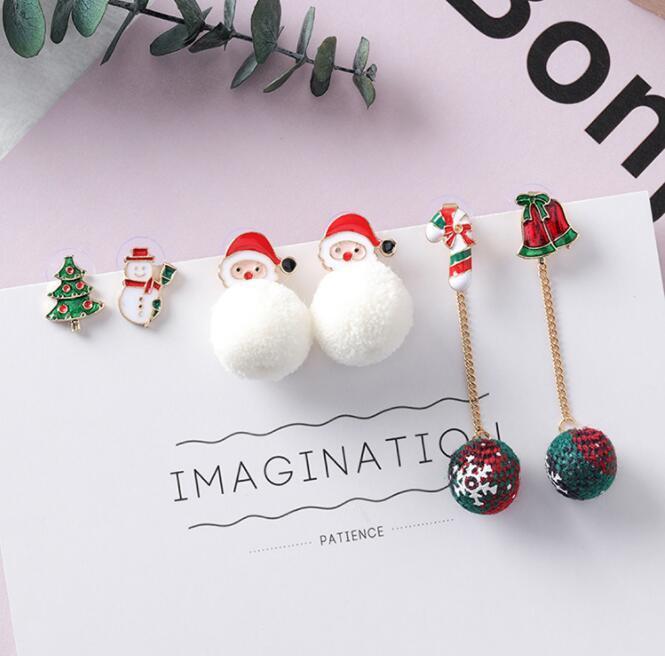 c5b844829b55b Christmas Earrings Christmas Tree Santa Claus Santa Claus Snowman Earrings  for Women Girls Christmas Gifts LJJK1063