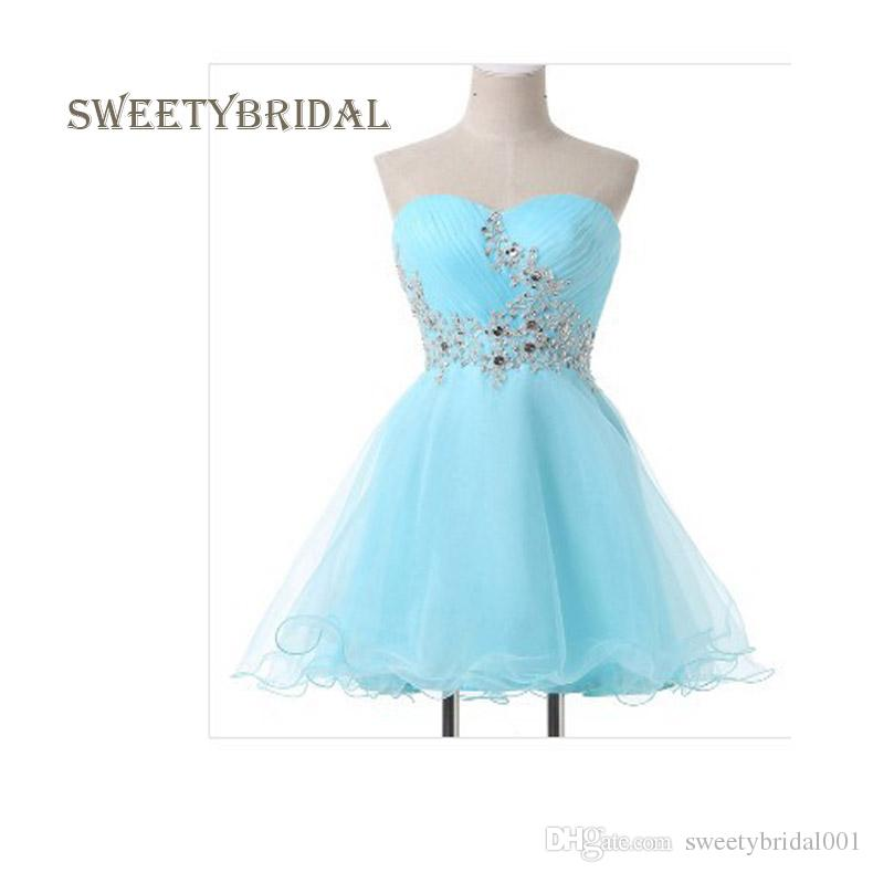 eb554bc6208 Home Coming Dresses New 2018 Sweetheart Beaded Ruched Bodice A-line Short  Prom Dresses Sky Blue Graduation Dresses Robe Vestido de noiva