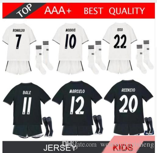 0a20c713d 2018 2019 Real Madrid RONALDO Kids Soccer Jerseys Sets With Socks Boys  Child Kits 18 19 Home White Third JAMES BALE Football Shirts UK 2019 From  ...
