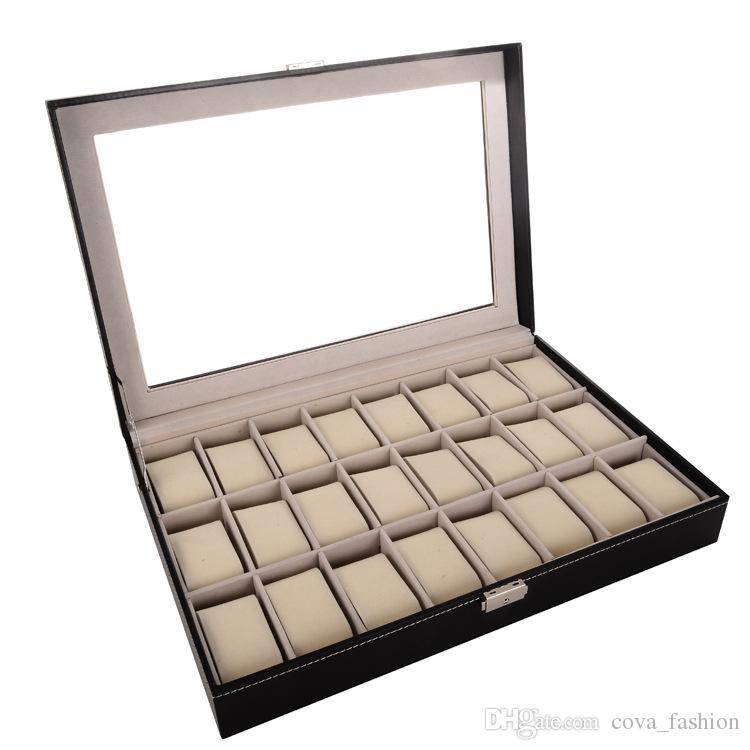 24 Grid Black PU Wooden Wrist Watch Box Display Box Jewelry Storage Holder Organizer Case with Glass Window /ctn