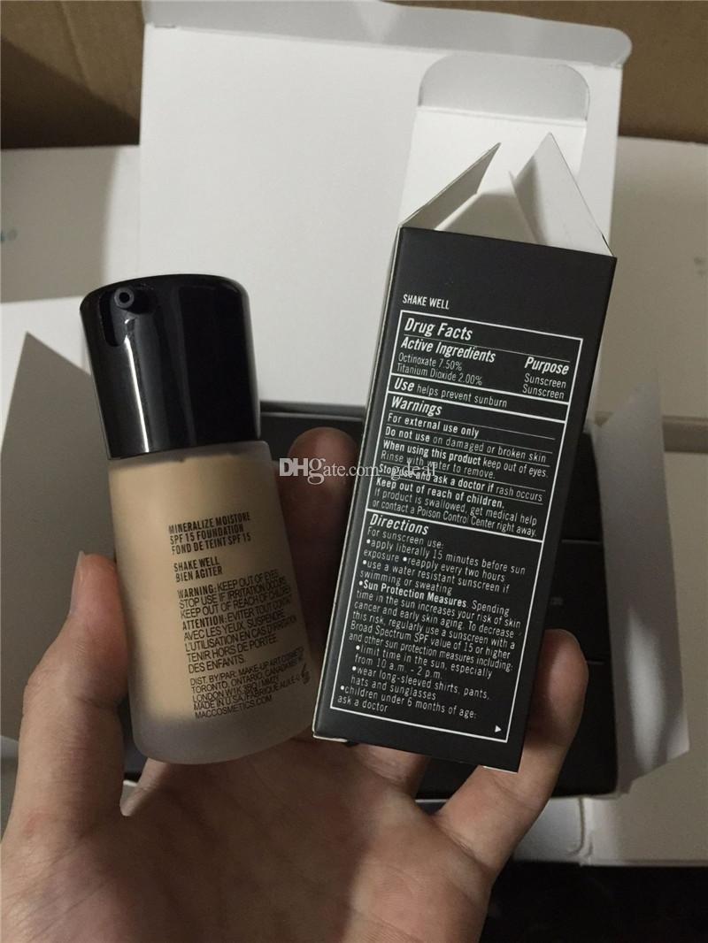 Mineralize Moisture SPF 15 Fondation 30 ml Fond de teint liquide Large Specturm Correcteur Maquillage pour le visage Cosmétiques DHL gratuit 72