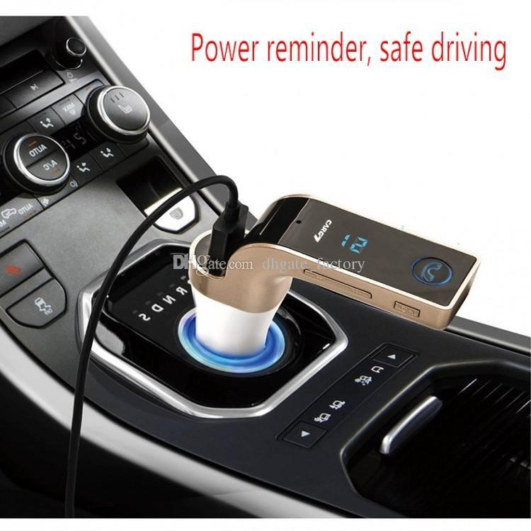 Original G7 Bluetooth Car Kit Manos libres Transmisor FM Radio Reproductor de MP3 Cargador USB AUX TF ranuras para tarjetas compatibles con todos los teléfonos