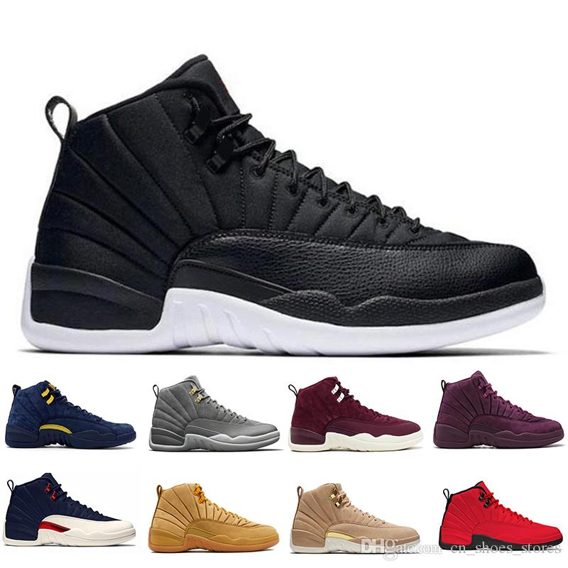 d3f49e6c49b4 New 12 12s Mens Basketball Shoes Wheat Dark Grey Bordeaux Flu Game ...