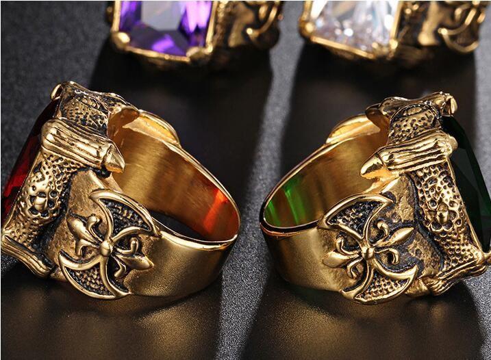 Aço inoxidável Titanium ouro quadrado branco verde roxo Red Stone Mens Anel Punk Vintage Dragão Garras Cubic Zirconia anel para homens Jóias
