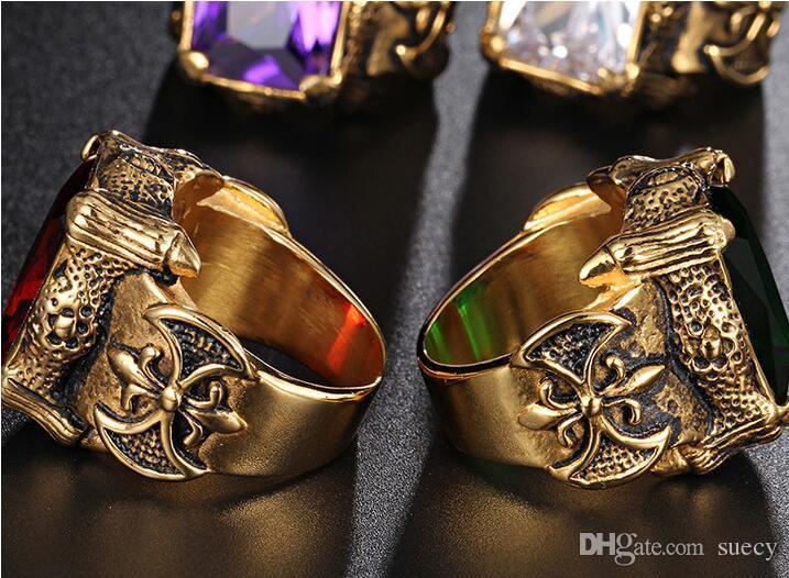 Vintage Gold Color Dragon Garra Anillos Hombres Joyería Acero Inoxidable Grande Rojo Verde Púrpura Blanco CZ Cristal Piedra Anillo Hombres Punk Rock Anillos para hombre