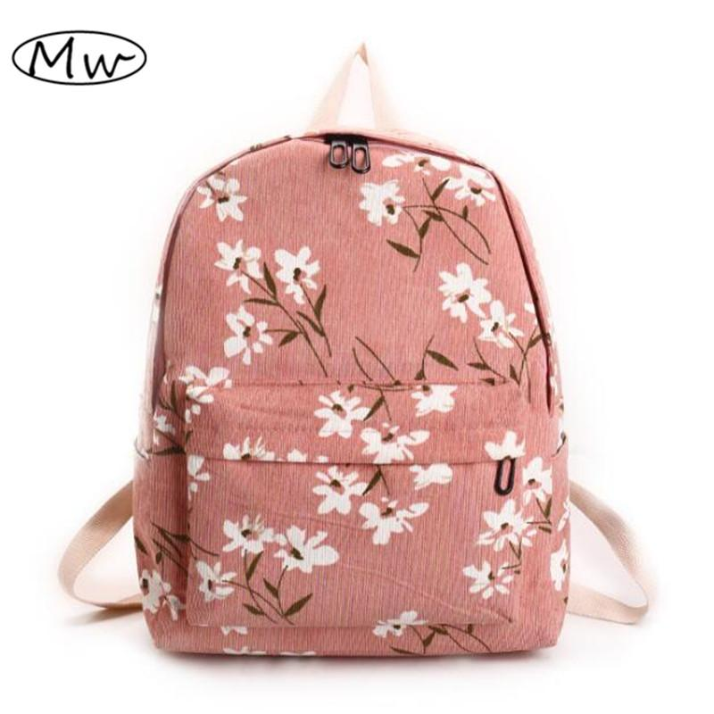 0978f6eeb4 Preppy Style Flowers Printing Backpack Women Corduroy Backpack School Bags  For Teenager Girls Students Travel Bag Rucksack 2017 Backpacks Bags From  Faaa